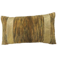 Gold and Brown Silk Velvet Bolster Handmade Pillow with Gold Antique Trim
