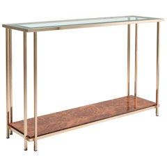 Gold and Burl Console Table
