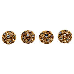 Gold and Cabochon Sapphire Button Suite