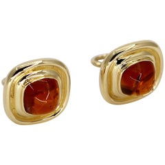 Gold and Citrine Cushion Shaped Earrings