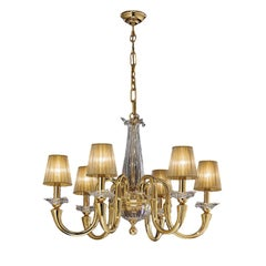 Gold and Crystal 6-Light Chandelier with Organza Shades