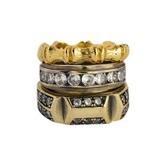 Gold and Crystal Bamboo ring set of 3 from Iosselliani