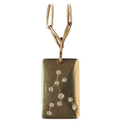 Gold and Diamond Aquarius Zodiac Pendant