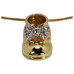 Gold and Diamond Baby Shoe Pendant on a Thin Gold Choker, Perfect Push Present