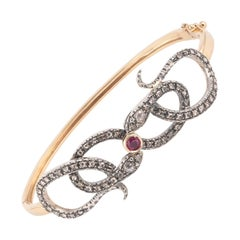 Gold and Diamond Bangle Snake Bracelet
