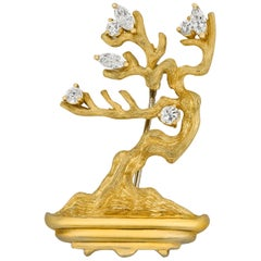 Gold and Diamond Bonsai Tree Brooch by Henry Dunay