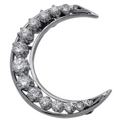 Gold and Diamond Crescent Brooch