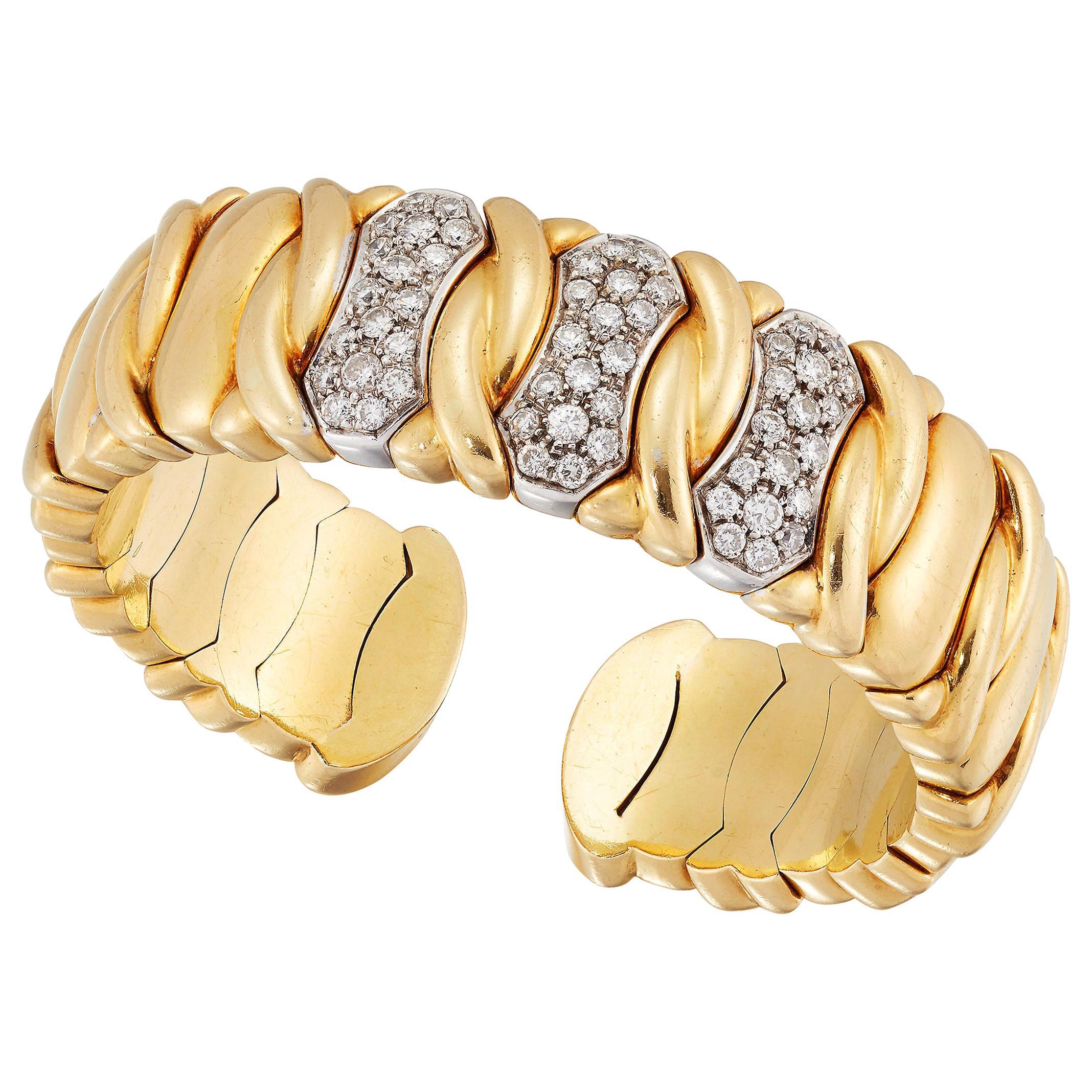 Gold and Diamond Cuff Bangle, 18 Karat Yellow Gold
