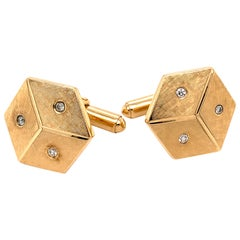 Gold and Diamond Dice Cufflinks