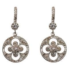 18k Gold Diamond Drop Chandelier Earrings Brilliant Cut Diamonds White Black