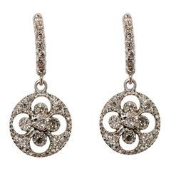 18k Gold Drop Diamond Earrings Brilliant Cut Diamonds White Black Yellow Rose
