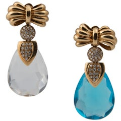 Gold and Diamond Earrings with Interchangeable White Blue Pink and Yellow Drops