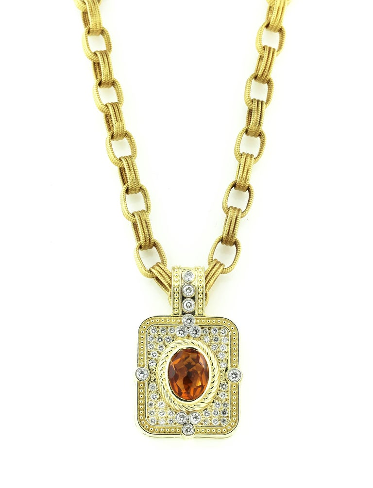 14K Gold Necklace with Enhancer Pendant and yellow gold link chain  Pendant has Citrine center and all diamonds. The citrine is 11mm x 9.5mm and is gorgeous in color. The pendant also has 1.50 carat G color, VS clarity diamonds  The pendant bail