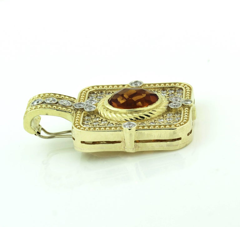 Gold and Diamond Enhancer Pendant with Citrine Center and Gold Link Chain In Excellent Condition For Sale In Boca Raton, FL