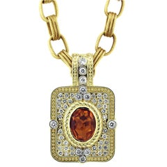 Gold and Diamond Enhancer Pendant with Citrine Center and Gold Link Chain