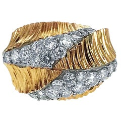 Diamond Yellow Gold Textured Ring