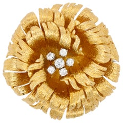 Gold and Diamond Flower Brooch, 1960s