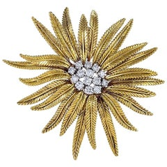 Cartier Diamond Gold Flower Brooch