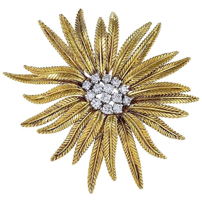 Cartier Diamond Gold Flower Brooch  For Sale