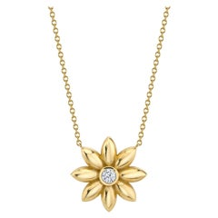 Gold and Diamond Flower Necklace