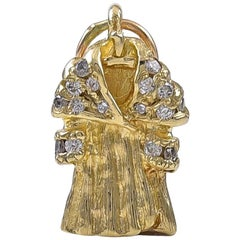 Gold and Diamond Fur Coat Charm