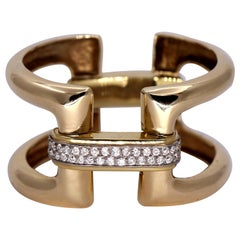 "Gold and Diamond ""H"" Design Bracelet"