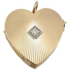Gold and Diamond Heart Locket for Nine Photos