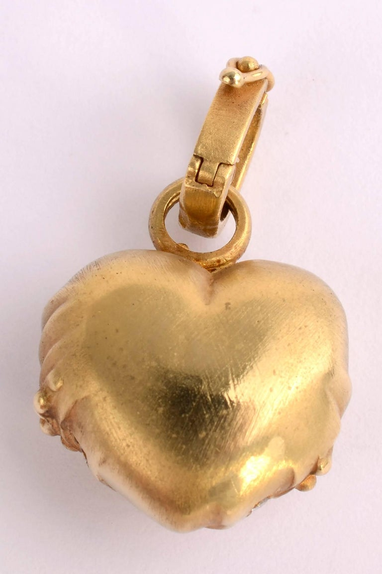 Modern Gold and Diamond Heart Pendant For Sale