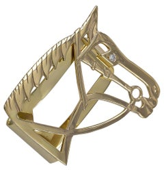 Gold and Diamond Horse Head Money Clip
