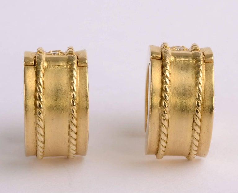 Diamond Gold Huggie Earrings For 1