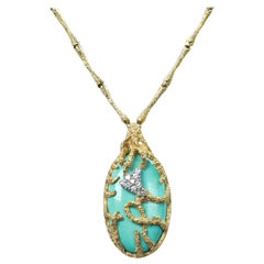 Gold and Diamond La Triomphe Necklace with Turqoiuse Pendant