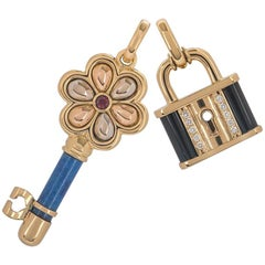 Gold and Diamond Lock and Key Pendant