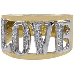 """LOVE"" Goldring mit Diamanten"