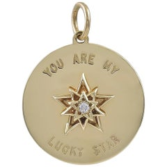 Gold and Diamond Lucky Star Pendant or Charm