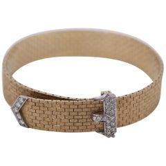 Gold and Diamond Midcentury Buckle Bracelet