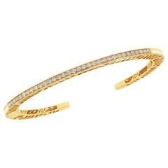 Gold and Diamond Narrow Stacking Cuff with Diamonds