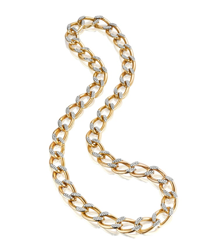 Retro Cartier Paris circa 1945 Gold and Diamond Necklace Convertible to Bracelets For Sale