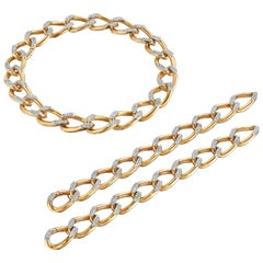 Cartier Paris circa 1945 Gold and Diamond Necklace Convertible to Bracelets