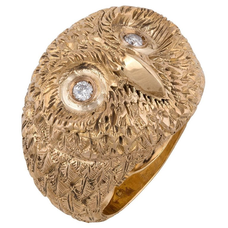 Gold and Diamond Owl Ring
