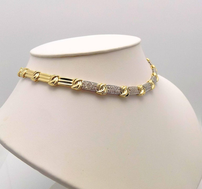 14 Karat Yellow Gold and White Gold Necklace Featuring 7 Diamond Pave' Sections, 98 Round Brilliant Diamonds 2.00 Carat Total Weight; SI, H, 16