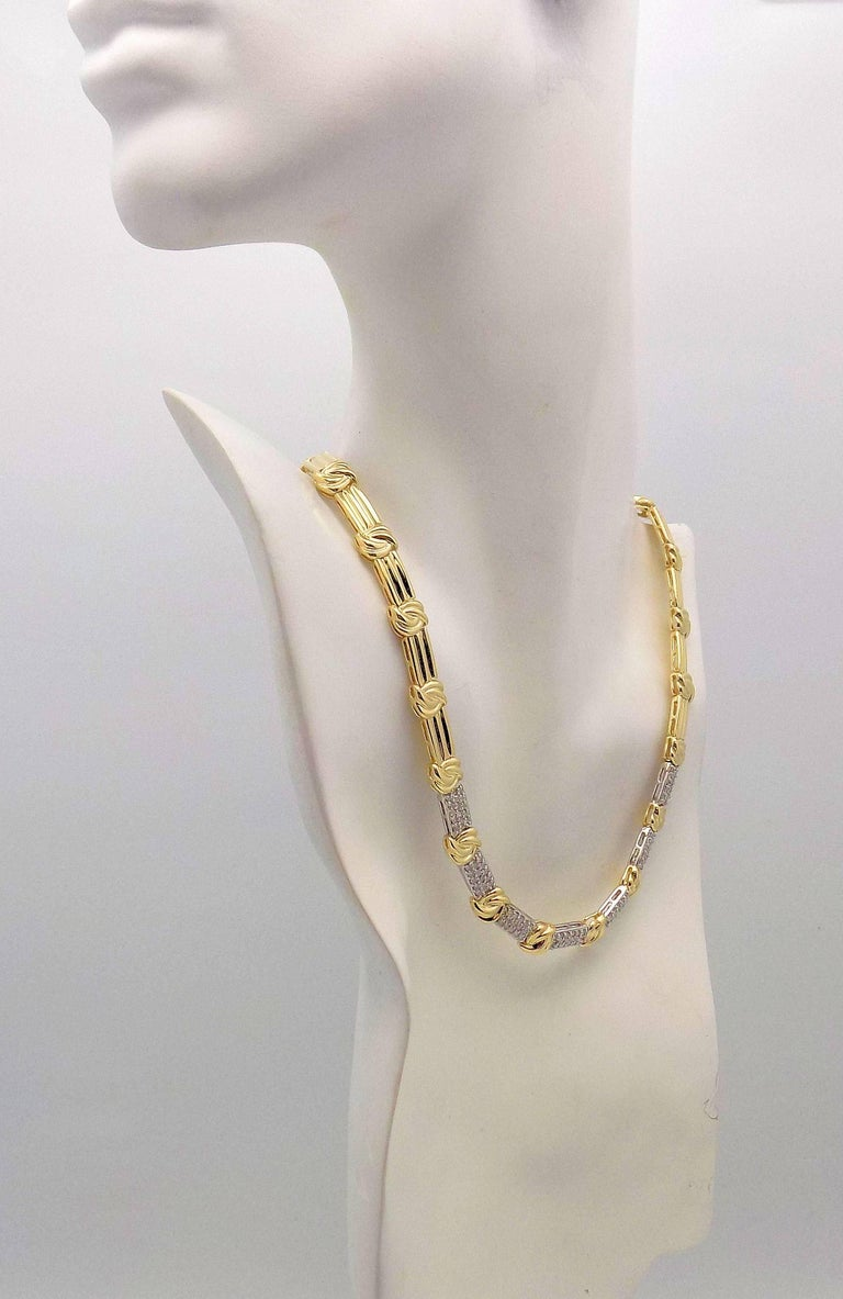 Gold and Diamond Pave' Necklace For Sale 1