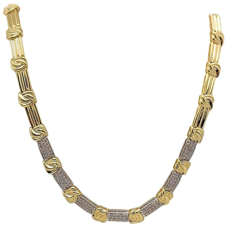 Gold and Diamond Pave' Necklace For Sale