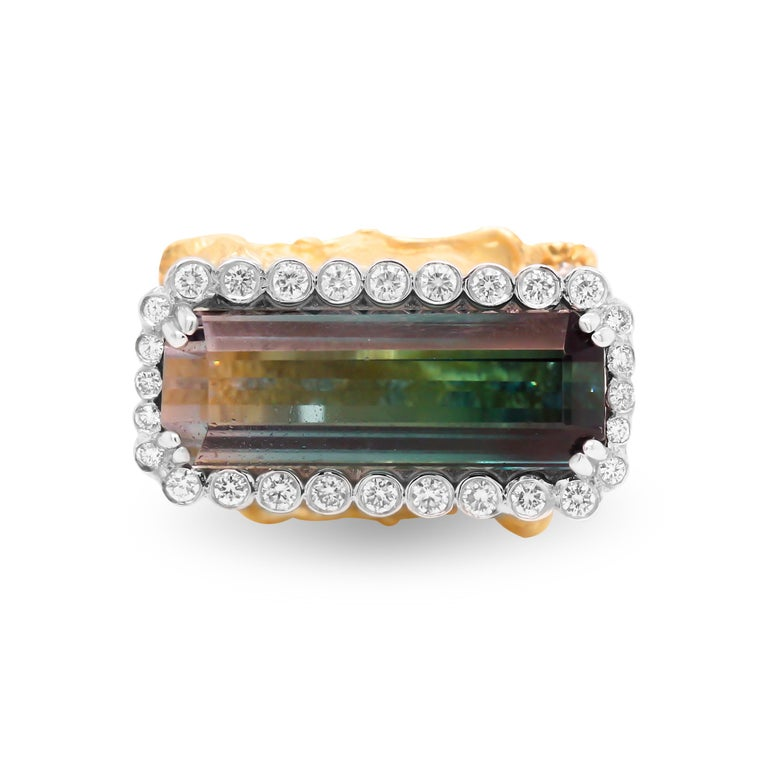 Contemporary Gold and Diamond Ring with Two Lions with Bi Color Tourmaline Center Stambolian For Sale