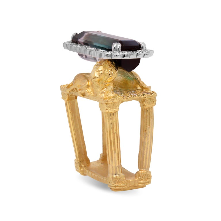 Baguette Cut Gold and Diamond Ring with Two Lions with Bi Color Tourmaline Center Stambolian For Sale