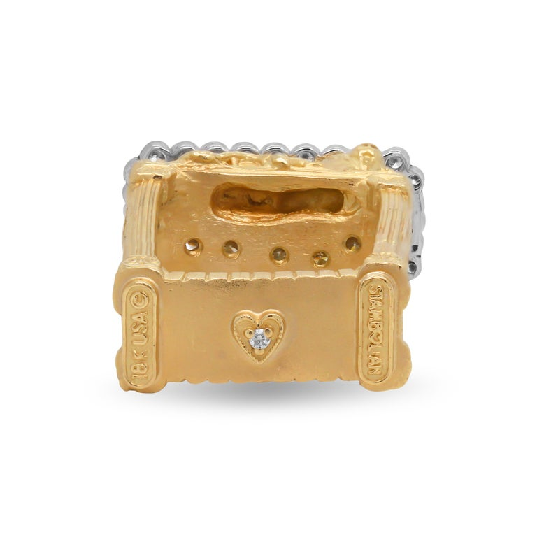 Gold and Diamond Ring with Two Lions with Bi Color Tourmaline Center Stambolian In New Condition For Sale In Boca Raton, FL