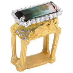 Gold and Diamond Ring with Two Lions with Bi Color Tourmaline Center Stambolian