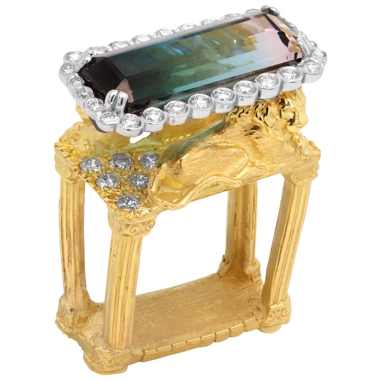 Gold and Diamond Ring with Two Lions with Bi Color Tourmaline Center Stambolian For Sale