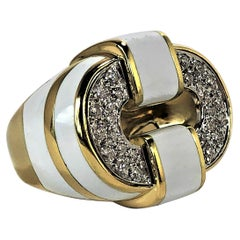 Gold and Diamond Ring with White Enamel