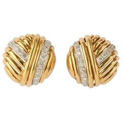 Gold and Diamond Round Ear Clips
