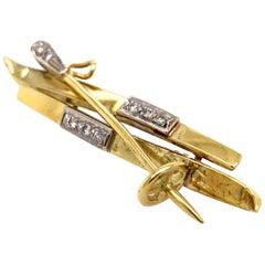 Gold and Diamond Ski Pin